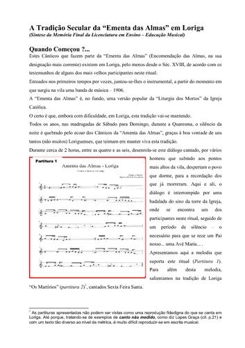 Síntese da Memória Final da Licenciatura em Ensino – Educação Musical, de Pinto Gonçalves